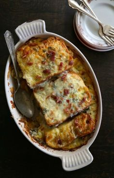 artichoke bread pudding with bacon + gorgonzola