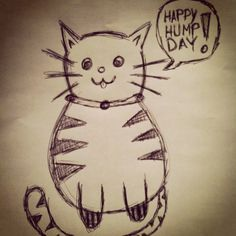 I want to be drinkin milk cocktails & relaxin in the sun! Come on Weekend!! =^_^=  @Tom John Cat #thetomcatlife #tomdoodle #doodle #sketch #humpday #wednesday #cat #kitty
