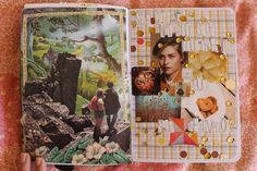 So here's what August has been looking like for me. The top page was very fun, I pulled out the dried paint from my palette and collaged it. A thanks to Ashley who was sweet enough to send me those...