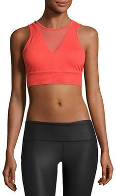 Shop Now - >  https://api.shopstyle.com/action/apiVisitRetailer?id=604667175&pid=uid6996-25233114-59 Alo Yoga Jubilee Mesh-Inset Sports Bra, Black  ...