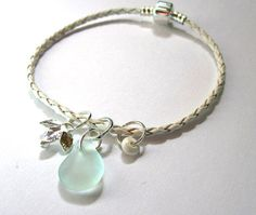 Seaglass Bangle Euro Leather Bracelet by GardenLeafSeaside on Etsy, $18.00