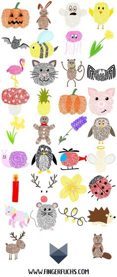 Das große Fingerabdruck ABC – Basteln mit Fingerabdruck Make things easy! Fingerprinting is great for crafting with kids. Whether fingerprint. Abc Crafts, Kids Crafts, Arts And Crafts, Animal Crafts For Kids, Art For Kids, Hand Art Kids, Fingerprint Crafts, Thumb Prints, Hand Prints