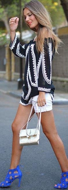 Zara Black And White Graphic Off Shoulder Tunic Dress by Mi Aventura Con La Moda
