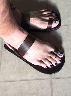 Polished Toes, Polished Man, Men Nail Polish, Toe Polish, Painting Toenails, Mens Nails, Painted Toe Nails, Mens Beach Shoes, Foot Toe