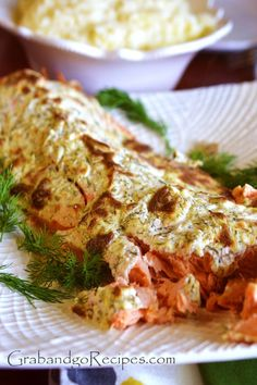 Creamy Baked Salmon with lemon and dill