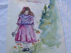 Aquarell vom Mädchen im rosa Vintage Sonntagskleid von kunstpause, €89.00