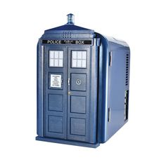 Doctor Who: TARDIS Mini Fridge The Doctor Who TARDIS Fridge keeps your drinks nice and cold! Holds up to 6 12 oz. cans of your favorite beverage and features a flashing lantern light, 30 seconds of TARDIS sound effects and is AC/DC powered.