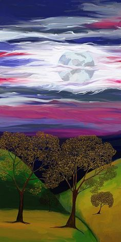 La Luna 9 by Jeanne Fischer Digital painting of the full moon over an autumn landscape
