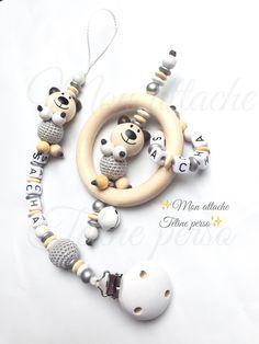 Offre duo attache tétine et hochet personnalisés ~ modèle ours nature argent blanc : Puériculture par mon-attache-tetine-perso