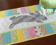 Quilted Easter Bunny Table Runner by homesewnbychristine on Etsy
