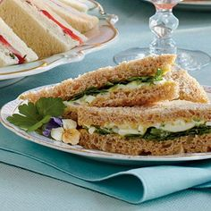Egg Salad Tea Sandwiches are the quintessential pick for tearoom lunches. Serve egg salad on whole grain bread slices with fresh watercress.