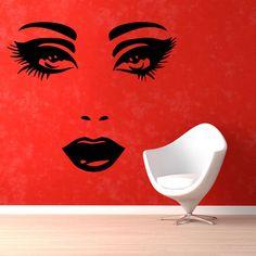 Make Up Hair Salon Woman Face Sticker Vinyl Wall Art