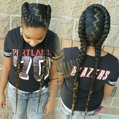 Two feed-in braids with small cornrows on the sides #fashion she say it remind her of @iamcardib hairstyles. Can't wait to start doing her…
