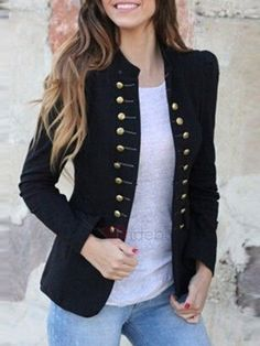 2018 Designer Black White Blazer Women Wrok Office Formal Gold Buttons Double Breasted Blazers Autumn New Blazer Blazer Outfits, Blazer Fashion, Casual Outfits, Fashion Outfits, Fashion Coat, Fashion Women, Fashion 2017, Casual Blazer, Blazer Dress