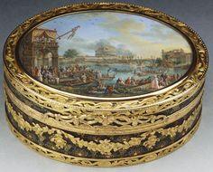 Edmé-Charles de Lioux de Savignac (active 1760-89) snuff box, 1766-67. Gold and enamel, with a glazed gouache miniature of a sporting contest on the Tiber.