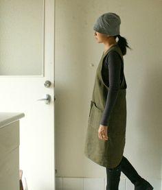 LINEN PINAFORE DRESS - olive / women / linen tunic / uniform / cafe apron /  linen clothing / flax / plus size / australia / pamelatang