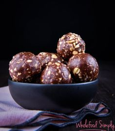 Snickers Bliss Balls. Delicious. Really, really delicious! Free from gluten, grains, dairy, egg and refined sugar. I hope you enjoy them as much as we do.