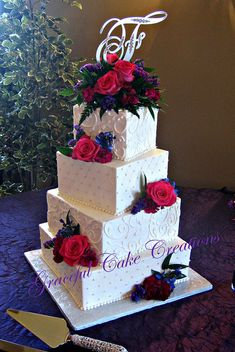 Elegant Square Ivory Buttercream Wedding Cake | Flickr - Photo Sharing!