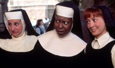 Kathy Najimy, Whoopi Goldberg, and Wendy Makkena as Sister Mary Patrick, Deloris Van Cartier / Sister Mary Clarence, and Sister Mary Robert