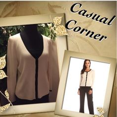 💐CLASSY CARDIGAN💐CASUAL CORNER💐/SWEATER Great staple piece for your work wardrobe.. Cream trimmed in black and in like new condition💕 Casual Corner Annex Sweaters Cardigans