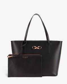 Bow detail leather shopper bag - Black | Bags | Ted Baker AU