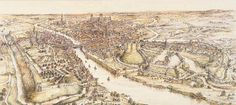 A panoramic view of York in the 15th century.  Watercolour by E. Ridsdale Tate Motte And Bailey Castle, York Castle, William The Conqueror, West Yorkshire, Yorkshire England, Fortification, Medieval Castle, Historical Architecture, Middle English