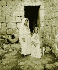 Ramallah - رام الله : RAMALLAH - Two Ramallah women in front of Bab-el-dar, late 19th, early 20th c.