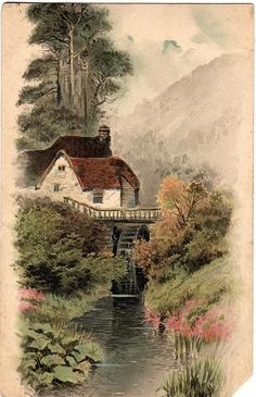 Water mill and river scene