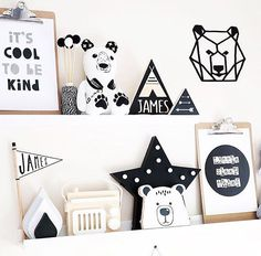 Beautiful monochrome shelfie by @frankie_and_co_designs with our black pennant…