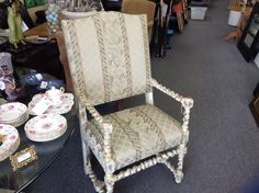Jacobean HighBack Chairs - Refinished bad newly upholstered.  We have 2.  Item. 249-2    Price $380.00 each   - http://takeitorleaveit.co/2013/10/11/jacobean-highback-chairs/