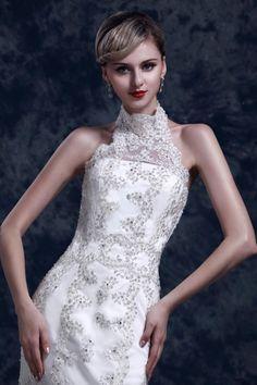 Amazing Sheath Halter Sweep Train Lace Wedding Dress WSC06536-TB #wedding #wedding_dresses #lace #bride #high_collar
