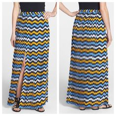 Michael Kors Ikat Print Pleat Maxi Skirt plus Michael Kors Ikat Print Pleat Maxi Skirt Bold ikat-inspired chevron stripes and precise knife pleating create energy and movement for a flattering straight-cut maxi skirt. A high front slit allows ease of movement and an alluring glimpse of leg. MSRP $189.  Item Location Bin D3 Michael Kors Skirts Maxi