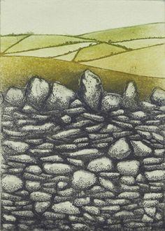 Stone Walls, Roundwood  etching by Niamh Mac Gowan