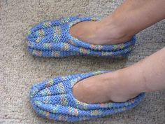 The pictures show the slipper made with Caron Simply Soft. I found that it is too stretchy and will make them from cotton in future.