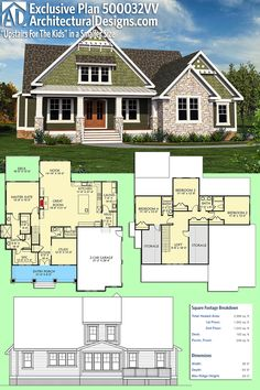 Architectural Designs Exclusive House Plan 500032VV gives you 4 beds, 3.5 baths and just about 3,000 sq. ft. of heated living space. Ready when you are. Where do YOU want to build? #500032VV #adhouseplans #architecturaldesigns #houseplan #architecture #newhome #newconstruction #newhouse #homedesign #dreamhome #dreamhouse #homeplan #architecture #architect #craftsmanhouse #craftsmanplan #craftsmanhome