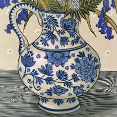 """631 Likes, 48 Comments - Vanessa Lubach Linocuts (@vanessalubach) on Instagram: """"Details from #bluebellsandcowparsleylinocut #linocut #linoprint #linogravure #linocutprint…"""""""