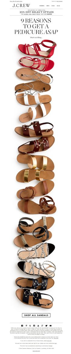 #newsletter J.Crew 05.2014 OK, it's really, truly, actually sunny out. Sandal shopping's a go.