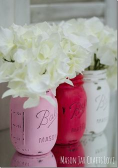 Valentine Mason Jars - Painted Mason Jars for Valentine's Day - Pink, Red, White Painted Mason Jars Valentine Day