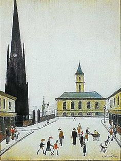 The Town Hall and St Hilda's in Middlehaven, Middlesbrough by Lowry. Painted from North Street looking South. Local History, Family History, Great North, English Artists, Middlesbrough, Urban Life, North Yorkshire, Town Hall, Boro