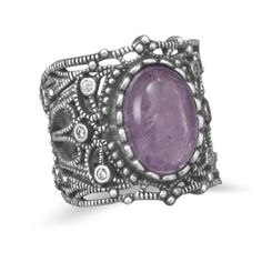 Oxidized sterling silver vintage style amethyst and clear cubic zirconia ring. Simply gorgeous! $119