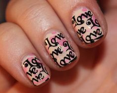 neat V-day or anniversary manicure idea using Bundle Monster nail art plates.A neat V-day or anniversary manicure idea using Bundle Monster nail art plates. Purple Ombre Nails, Red Nails, Love Nails, Pretty Nails, Hair And Nails, Valentine Nail Art, Holiday Nail Art, Valentines, Nail Manicure