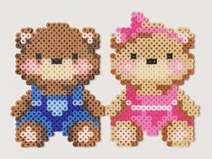 Teddies perler beads by Perler Beads, Fuse Beads, Hama Beads Patterns, Beading Patterns, Seed Bead Crafts, Graph Paper Art, 3d Quilling, Iron Beads, Melting Beads