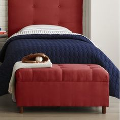 Skyline Furniture Micro-Suede Storage Bench in Red