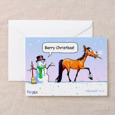 """Fergus takes the snowman's nose. """"Berry Christbas!"""" says the noseless snowman. Inside reads """"Happy Dew Year! http://www.cafepress.com/fergusthehorse/10311371"""