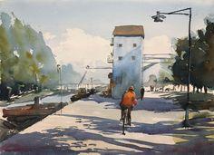 Cycling along the river Fyris, Uppsala, Stefan Gadnell watercolour, SÅLD