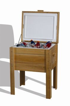SCREENED IN PORCH LoBoy Coolers Wood Travel Deck Box.  Use for tables between benches on back porch ~!~