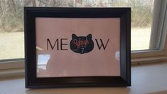 """Custom made cat birthday party sign would be a great addition to your cake table. It says """"MEOW""""  - Personalized Parties Plus"""