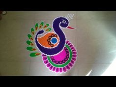 Easy, small and unique peacock rangoli | Innovative rangoli designs by Poonam Borkar - YouTube