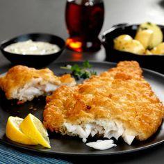 Crispy Deep Fried Flounder with Flounder Fillets, Buttermilk, Pancake Mix, Cornmeal, Oil, Salt, Lemon Wedges.