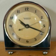 Vintage Hammond Art Deco SYNCHRONOUS Grenadier Electric Mantle Alarm Clock WORKS
